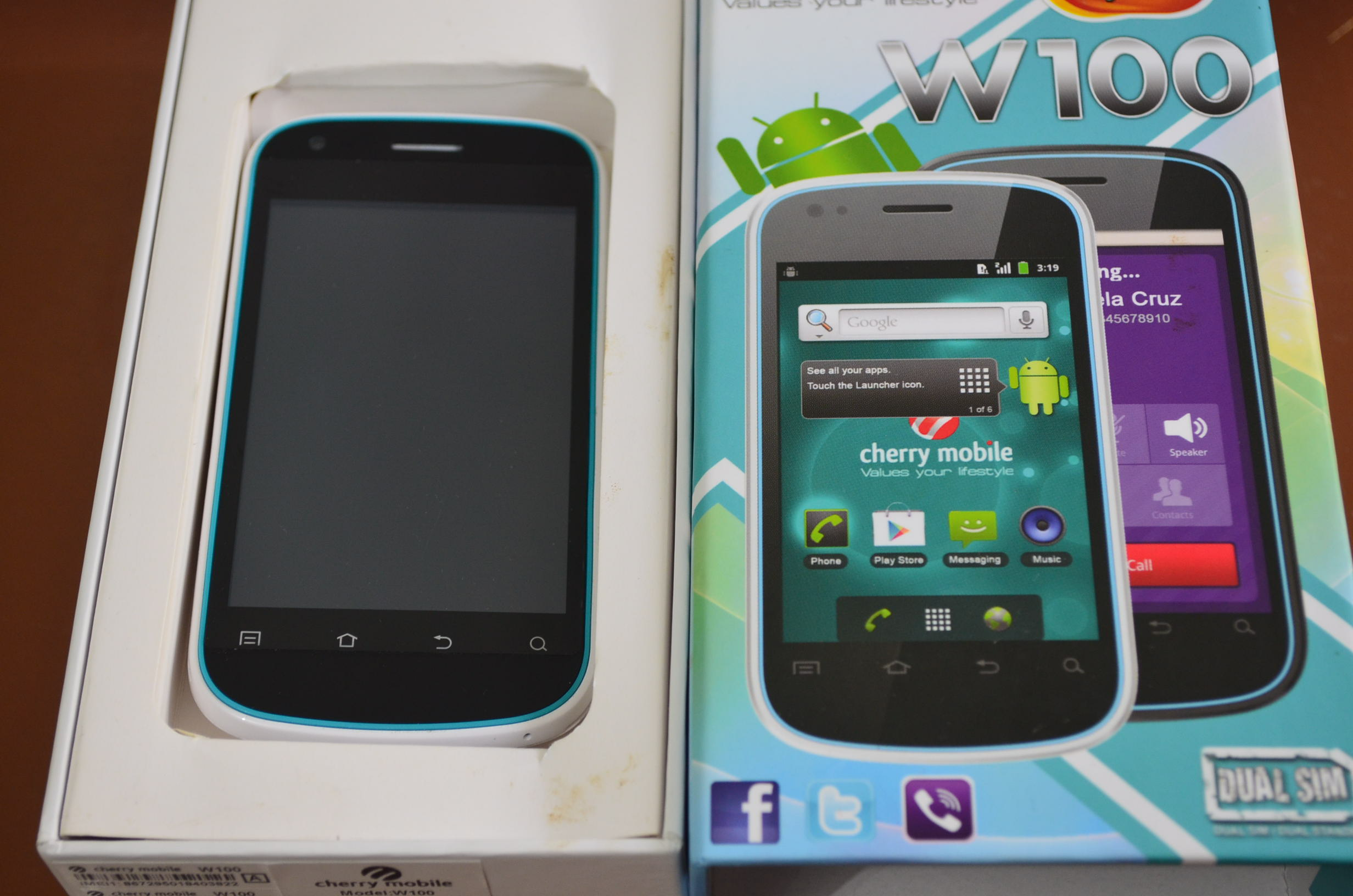 Cherry Mobile W100 and Box