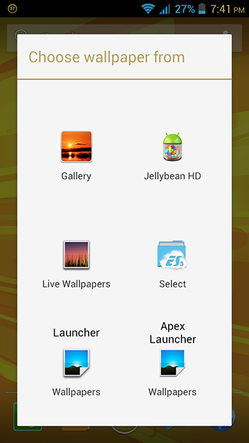 MyPhone A919i Duo Long Press on Homescreen